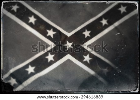 Instagram filtered image of Confederate Rebel flag black and white - stock photo