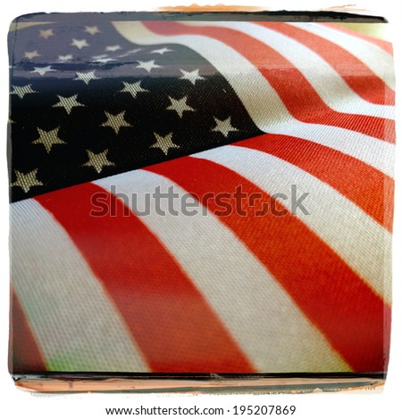 Instagram filtered style image of an American Flag for Memorial Day, 4th of July, Veterans Day - stock photo