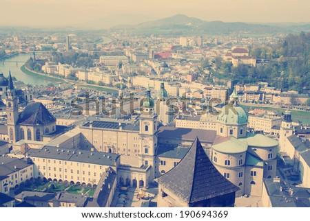 instagram nashville tone aerial view of Salzburg. Austria. - stock photo