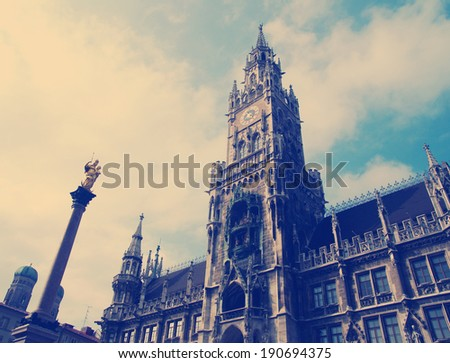 instagram nashville tone Building of Rathaus (city hall) in Munich, Germany - stock photo