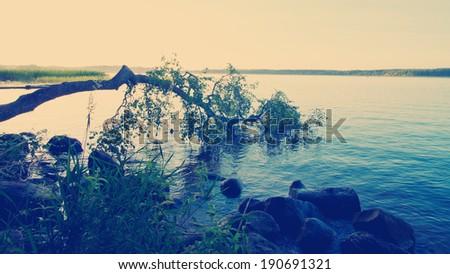instagram nashville tone lake landscape at sunset - stock photo