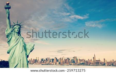 instagram new york city skyline over hudson river - stock photo