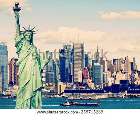 instagram tourism concept new york city with statue liberty - stock photo