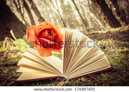 instagram vintage effect, romantic theme - open book with rose on the moss in the forest - stock photo