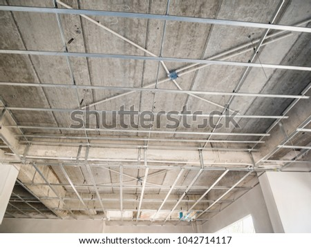 Install Metal Frame Plaster Board Ceiling Stock Photo (Royalty Free ...