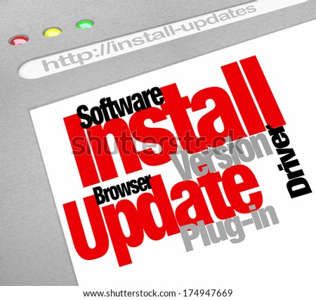 Install Update Computer Download Plug-in Software Patch - stock photo
