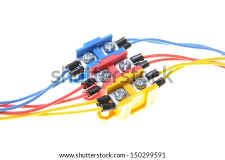 Installation electrical cables with terminal block  - stock photo