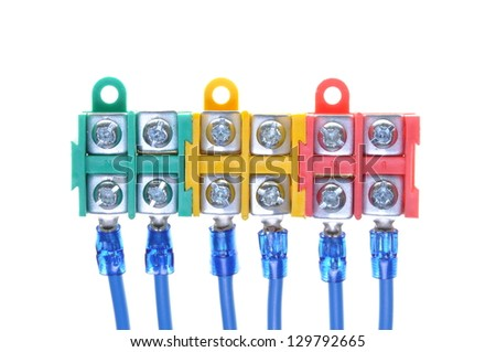 Installation electrical cables with terminal block isolated on white background - stock photo