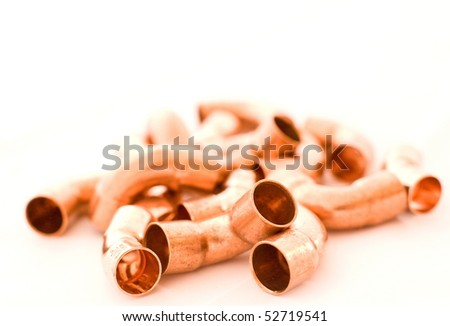 Installation fittings made of brass on bright background for house instalations - stock photo