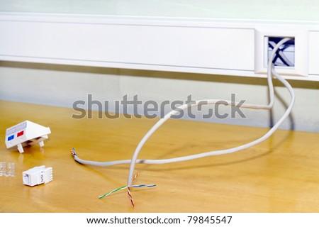 Installation of a double socket rj 45 internet network - stock photo