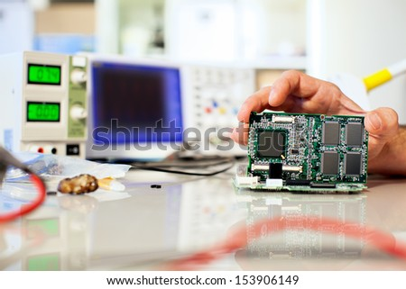 installation of computer module - stock photo