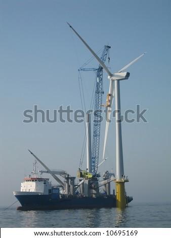 installation of offshore wind turbine - stock photo
