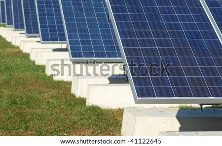 installation of solar panels for electricity generation - stock photo