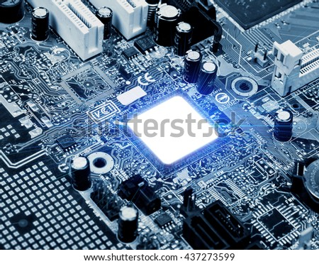 Installed in the computer motherboard CPU - stock photo
