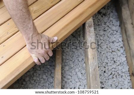 Installing New Deck - stock photo