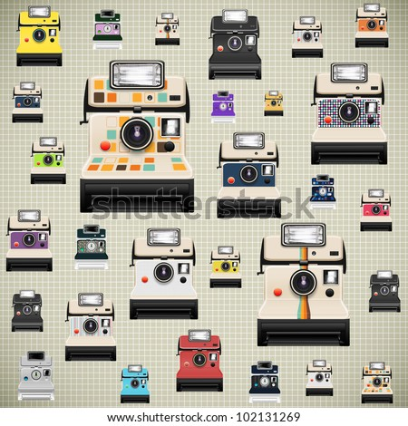 instant camera pattern ,retro style - stock photo