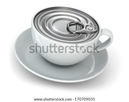 Instant coffe concept. Cup and cap of can. 3d - stock photo