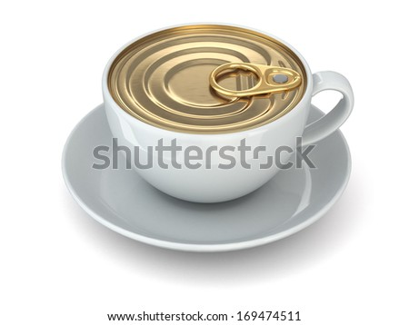 Instant coffee concept. Cup and cap of can. 3d - stock photo