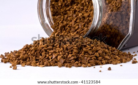 Instant coffee in glass bank-fragrant mixture - stock photo