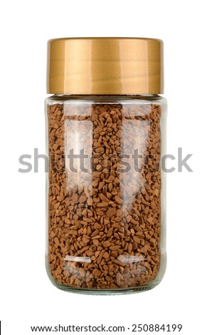 Instant coffee jar isolated on white background. With clipping path - stock photo