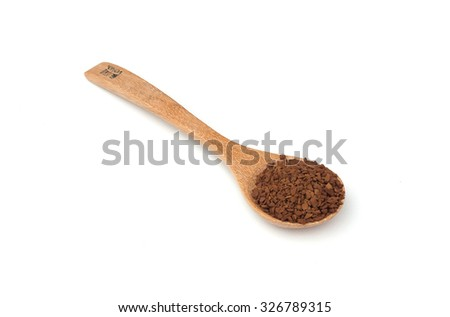 Instant coffee powder on white isolated background - stock photo