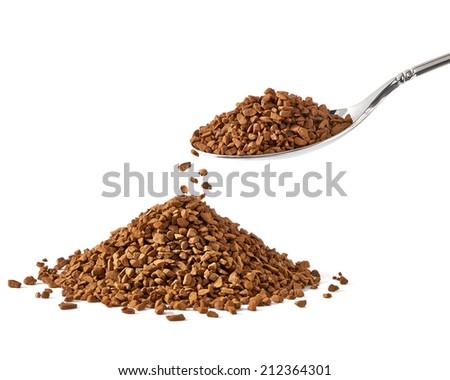 Instant granulated coffee on white background - stock photo