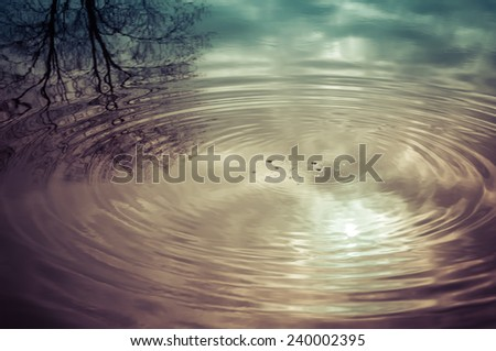 Instant look in real life water ripples in a park pond during a beautiful morning sunrise - stock photo