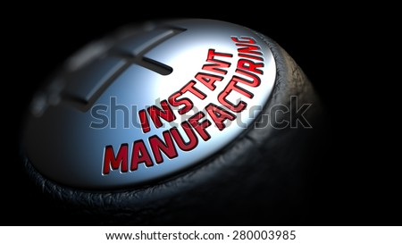 Instant Manufacturing. Control Concept. Gear Lever on Black Background. Close Up View. Selective Focus. 3D Render. - stock photo