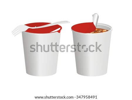 instant noodle cup with fork