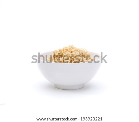 Instant noodle in a bowl isolated on white background