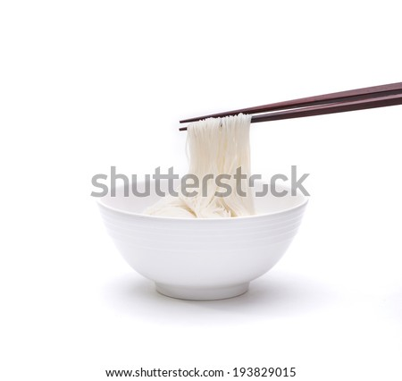 Instant noodle in a bowl with chopstick isolated on white background   - stock photo