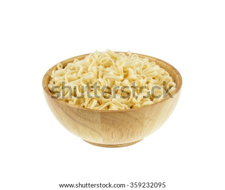 instant noodle in a bowl wooden on white background - stock photo