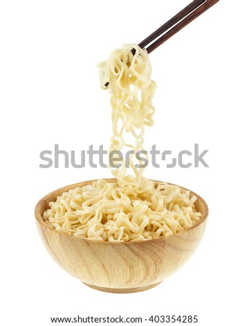instant noodle in a bowl wooden with chopstick on white background, This has clipping path. - stock photo