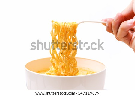 Instant noodles isolated on white background - stock photo