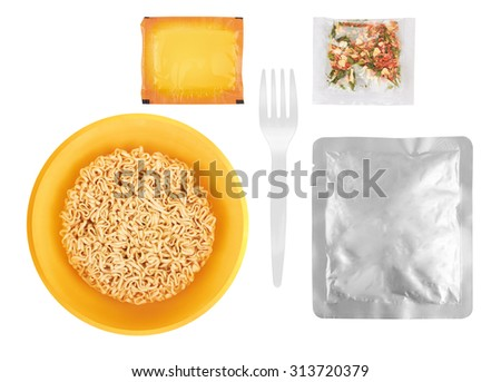 Instant noodles set, isolated on white background - stock photo