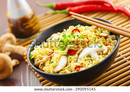 Instant noodles with shiitake mushrooms in a bowl, Asian traditional food