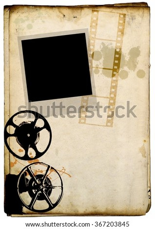 Instant photo, film strip and old projector on stained paper background - stock photo