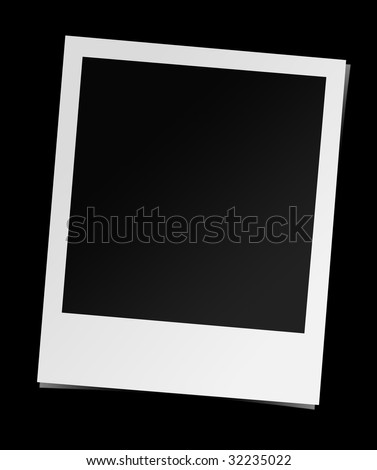 Instant photo frame, isolated, with reflection. Photo realistic illustration. - stock photo