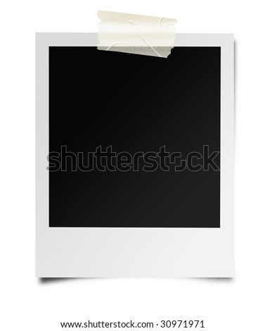 Instant photo frame stuck with masking tape. Isolated on white, this is a high quality, photo realistic drawing. - stock photo