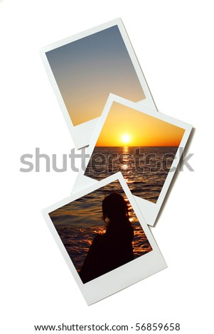 instant photo frame with beach image - stock photo
