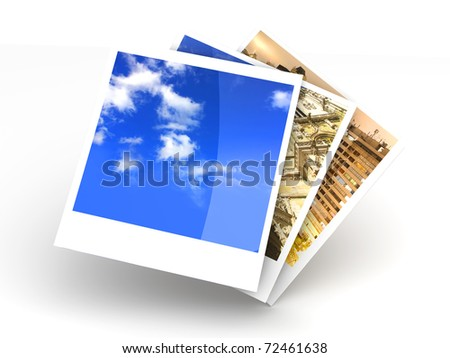 Instant photo frames. 3D rendered illustration. Isolated on white.