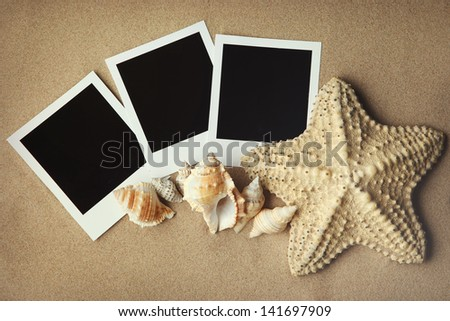 Instant photo frames on the beach with seashells around - stock photo