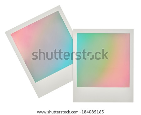 Instant photo frames with pastel colored background. retro polaroid style design for your picture - stock photo