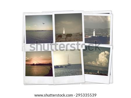 Instant photo. Polaroid isolated. Photo collage - stock photo