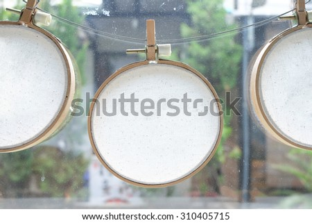 instant photos hanging on the clothesline - stock photo