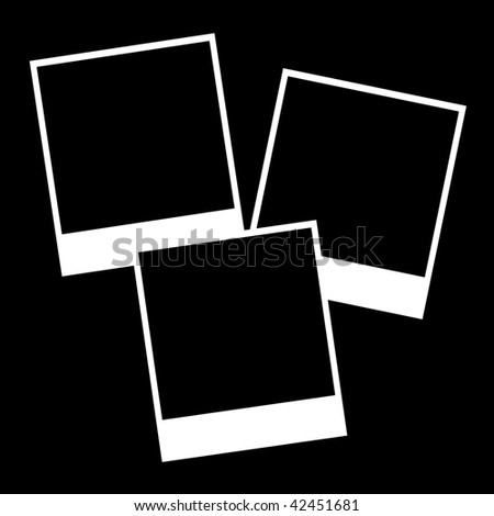 Instant photos isolated on a black background - stock photo