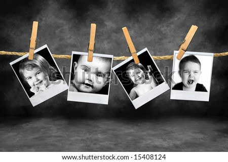 instant Photos of a Toddlers Many Expressions Against a Grunge Mottled Background - stock photo