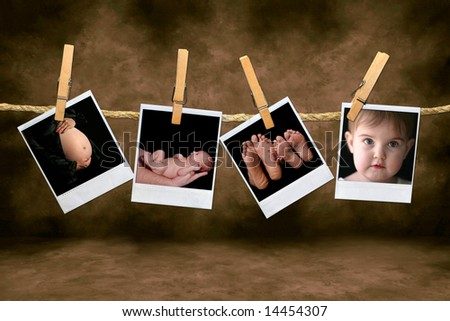 instant Photos of an Newborn Infant and Pregnancy Shots Hanging on a Rope With Clothespins - stock photo