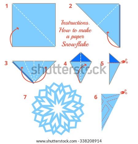 instructions how make paper snowflake tutorial stock