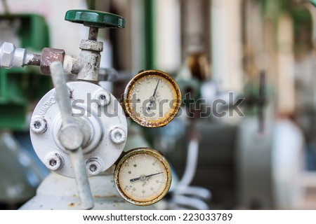 Instrument indicating pressure gauge - stock photo